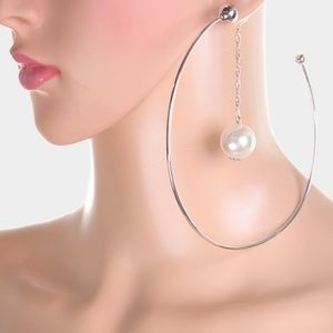 Jewelry - Large Drop Silver and White Pearl Hoop Earrings